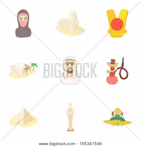 Country Egypt icons set. Cartoon illustration of 9 country Egypt vector icons for web