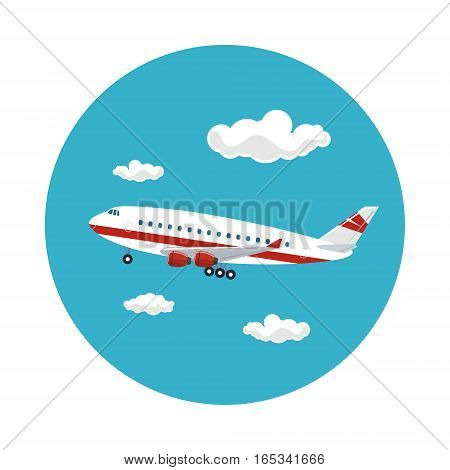 Airplane Flying in the Sky among the Clouds to the West, Travel and Tourism Concept , Air Travel and Transportation, Vector Illustration