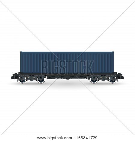 Cargo Container on Railroad Platform Isolated on White Background , Railway and Container Transport, Vector Illustration