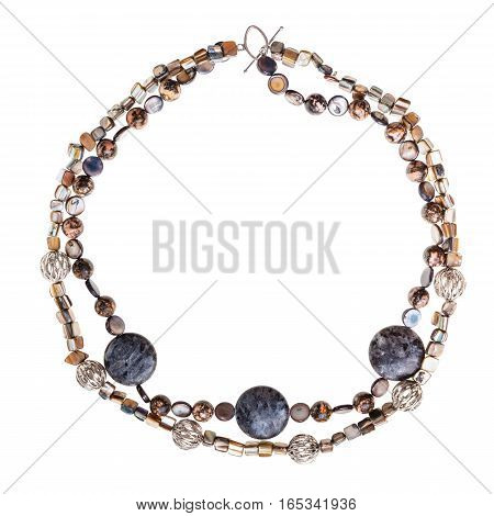 Necklace From Labradorite And Rhodonite Gems