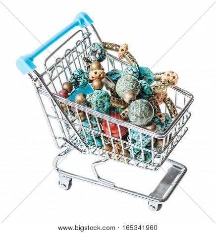 Shopping Cart With Tangled Necklace From Gemstones