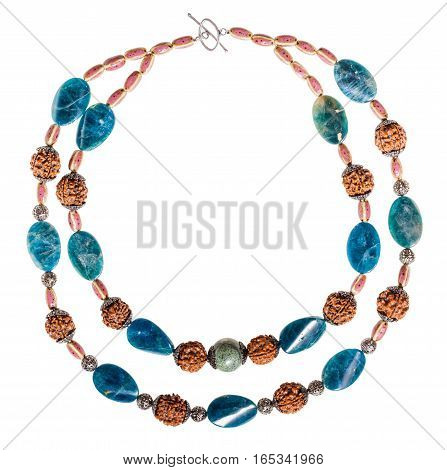 Necklace From Kyanite And Serpentine Natural Gems