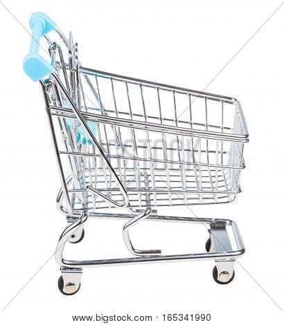 Empty Shopping Carriage Isolated On White