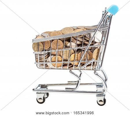 Shopping Carriage With Russian Coins Isolated