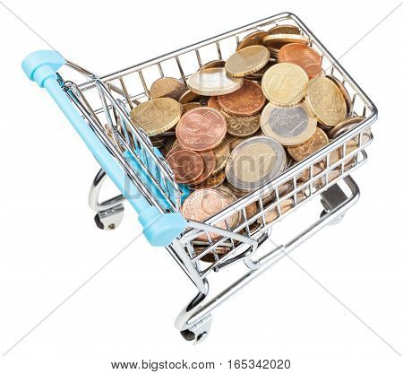 Shopping-cart With Euro Coins Isolated On White