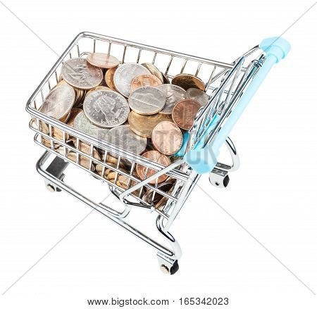 Bascart With Us Coins Isolated On White