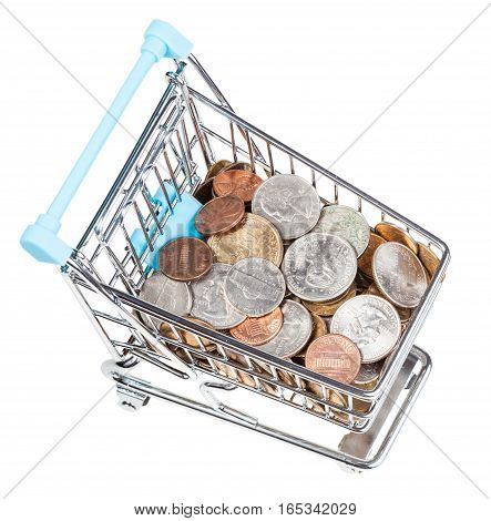 Shopping Cart With Us Coins Isolated