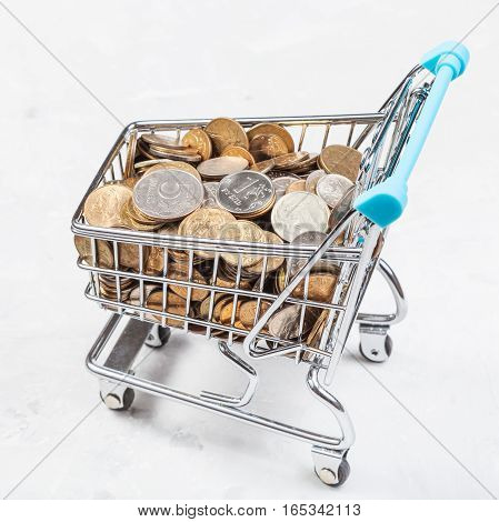 Cart With Russian Coins On Concrete Plate