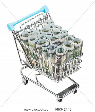 Shopping Carriage With Dollar Banknotes Isolated