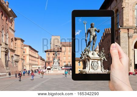 Tourist Photographs Fountain In Bologna