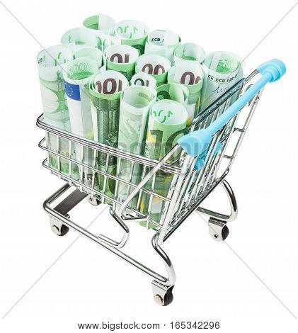 Shopping-cart With Rolls From Euro Banknotes