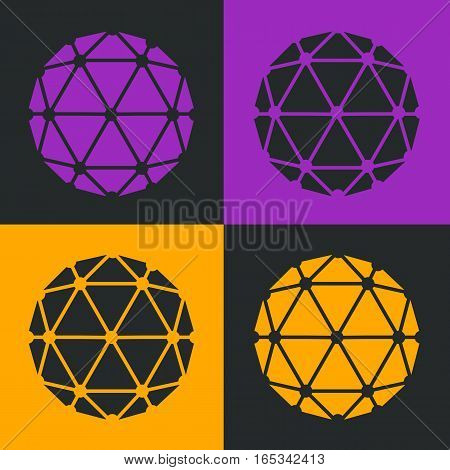Vector Polyhedron Flat Design Pop-art Colour Set Illustration