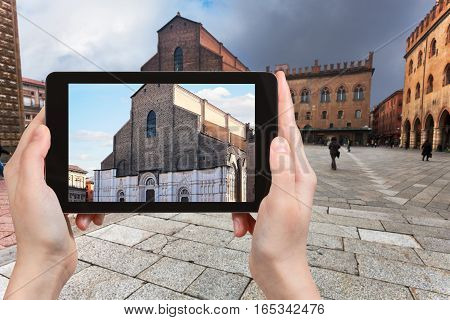 Tourist Photographs Basilica In Bologna City