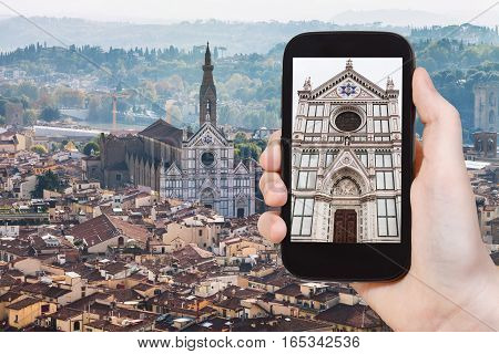 Tourist Photographs Florence Skyline With Basilica