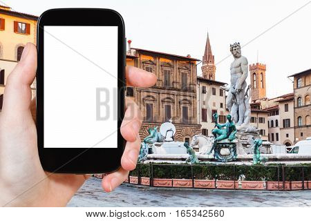 Tourist Photographs Piazza Signoria With Fountain