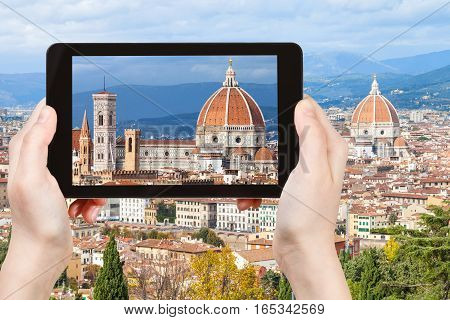 Tourist Photographs Basilica In Florence City