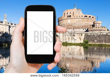 Tourist Photographs Holy Angel Castle In Rome