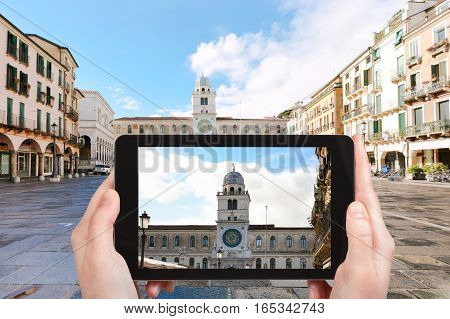 Tourist Photographs Palace In Padua City