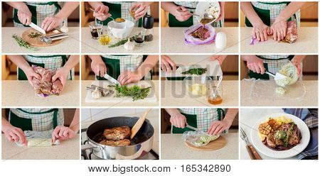 A Step By Step Collage Of Making Fried Pork With Herb Butter