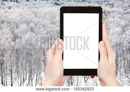 Tablet With Cut Out Screen And Snow Woods