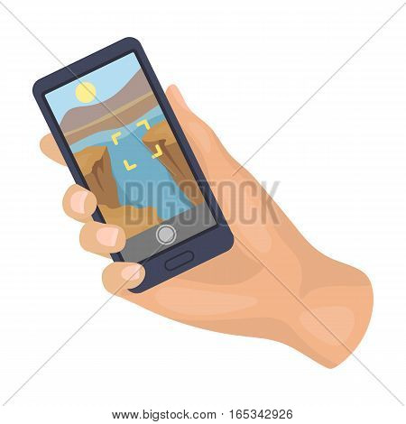 Taking photo on smart phone icon in cartoon design isolated on white background. Hipster style symbol stock vector illustration.