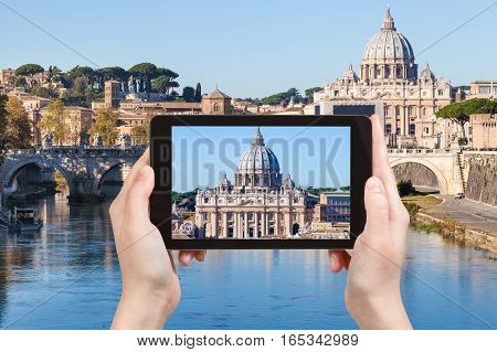Tourist Photographs St Peter Basilica From Rome