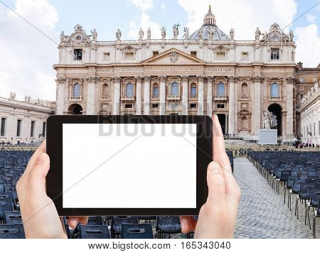 Tourist Photographs St Peter Square In Vatican