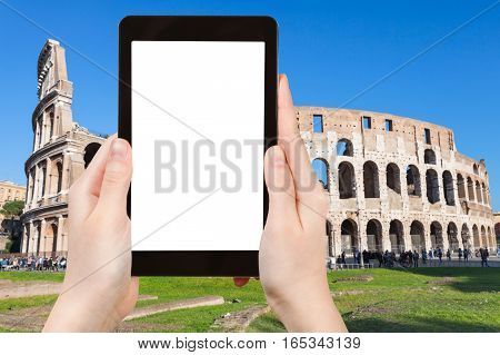 Tourist Photographs Coliseum In Rome City