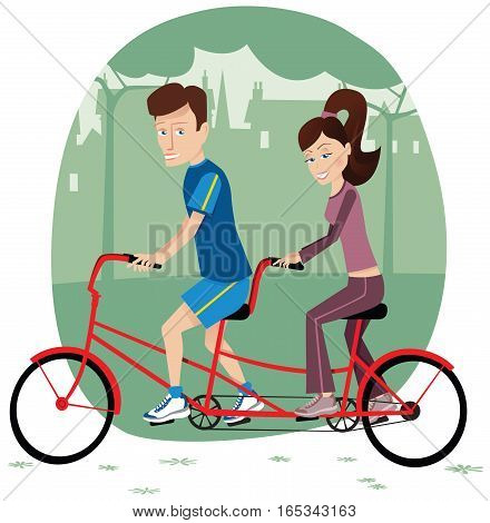 A couple cycling on a tandem bicycle through the park.