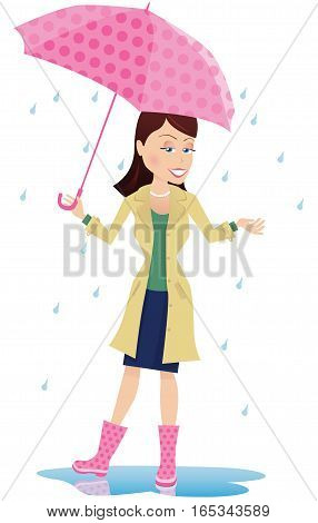 An image of a young woman standing with an umbrella in some light rain.