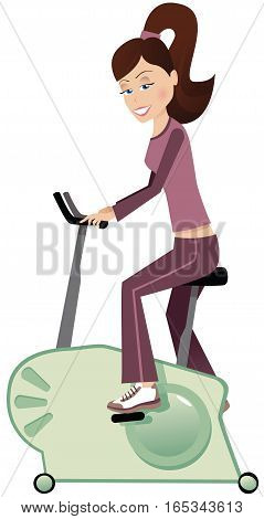 An illustration of a young woman using an exercise bicycle.