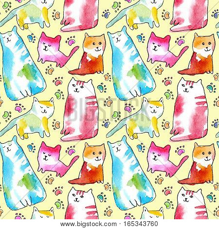 Seamless pattern of a cats and pawprints. Watercolor hand drawn illustration. Yellow background.