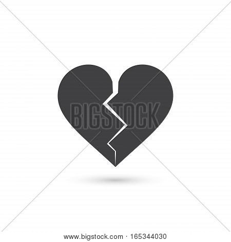 Broken heart icon vector isolated love sign.