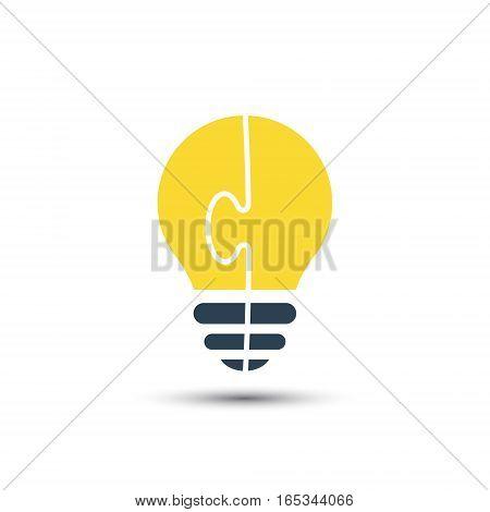 Bright light bulb made of puzzle vector idea concept.