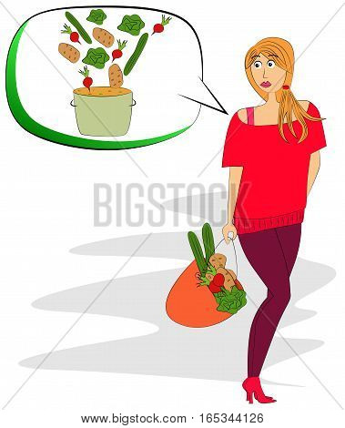 Vector illustrated pretty girl carrying a bag of vegetables.