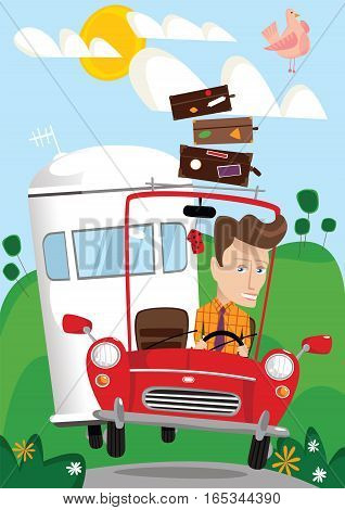 An illustration of a man driving on his vacations and towing a trailer.