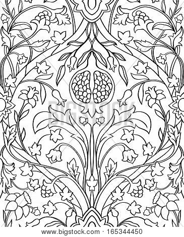 Black and white floral pattern. Seamless filigree ornament. Stylized template for wallpaper textile shawl carpet and any surface.
