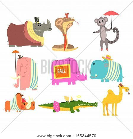 African Animals With Human Attributes And Clothing Collection Of Comic Cartoon Characters. Jungle Wild Fauna With Old-School Accessories Vector Colorful Illustrations.