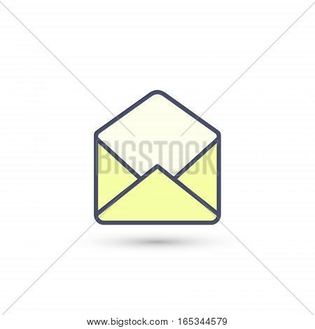 Open envelope icon. Vector color isolated illustration.
