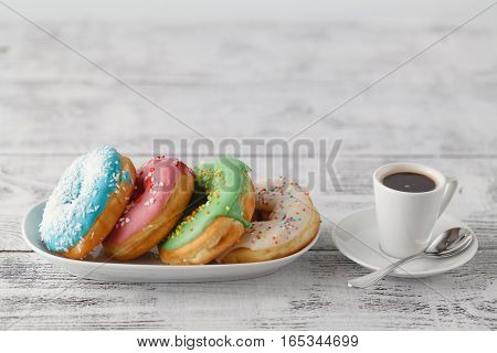 Few Colorfull Donuts On Table