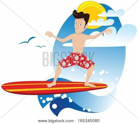 A young man surfing on a wave in the sea.