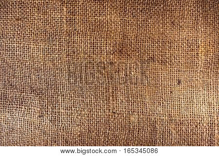 A vintage brown sackcloth texture as a background