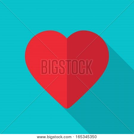 Heart vector icon Illustration with long shadow.