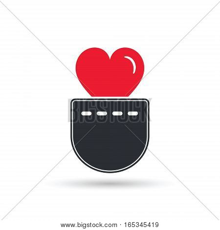 Heart in pocket icon vector isolated Valentines Day illustration.