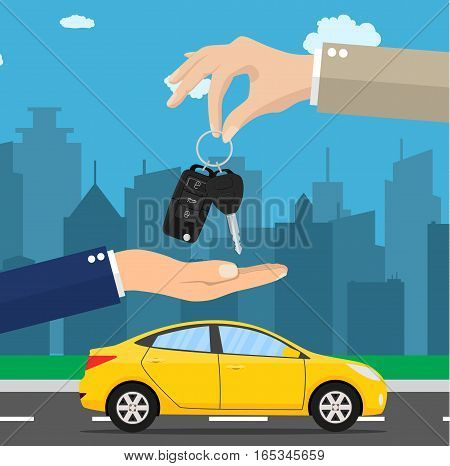 Car seller hand giving key to buyer. car rental or sale concept. Vector illustration in flat style. Urban cityscape background. Test drive. Selling, leasing or renting car service