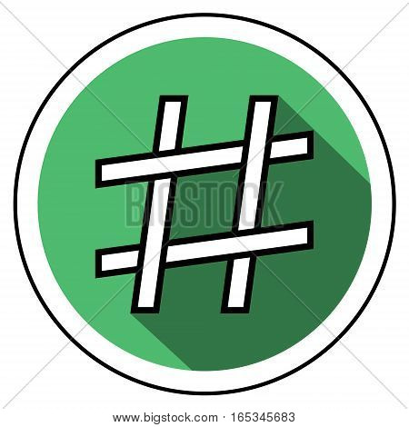 hashtag icon flat style, sign hashtag interlacing of lines, vector flat style