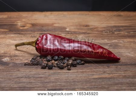 Red pepper chilli and flavoring on the wooden table