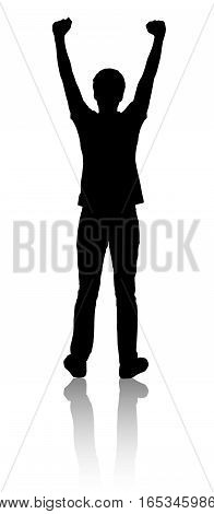 Silhouette of a man who raised his hands. Black color.