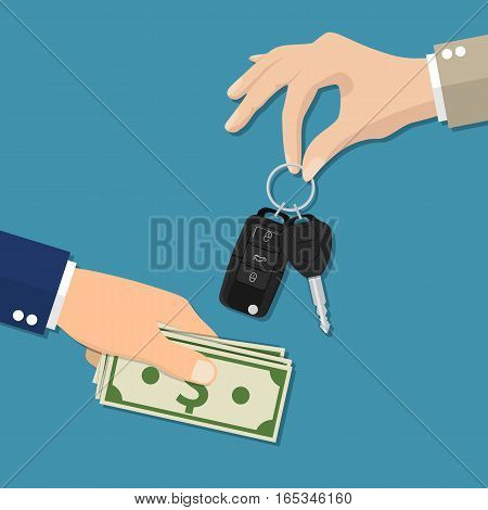 car rental or sale concept. Car salesman giving key to new owner. Hand holding car key and money. vector illustration in flat style