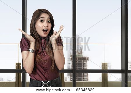 Beautiful Asian Business Woman With Surprised Face Expression